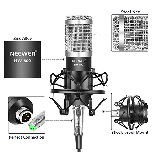 Neewer NW-800 Condenser Microphone (Black/Silver) Kit with USB Sound Card Adapter,Adjustable Suspension Scissor Arm Stand,Shock Mount,Pop Filter for Studio Recording Broadcast YouTube Live Periscop