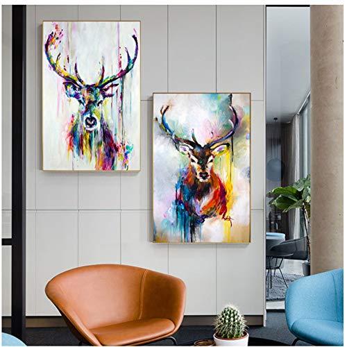 LIPENGYU Druck auf Leinwand Kunst Bunte Deer Bilder Tier Poster Leinwand Malerei Wandkunst Für Wohnzimmer Home Dekorative Bilder 60x80 cm x 2 stücke Kein Rahmen