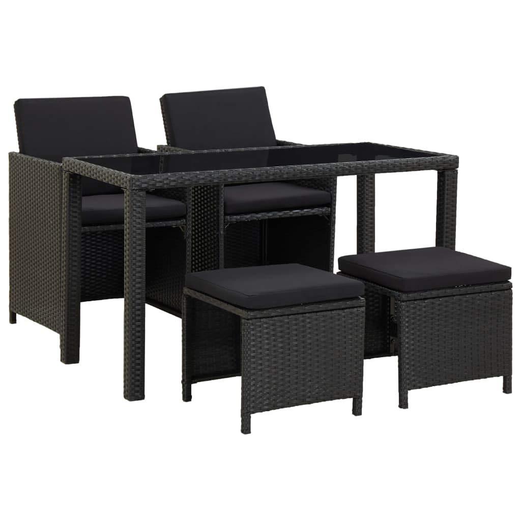 vidaXL Juego de Comedor de Jardín 5 Piezas Muebles de Exterior Conjunto de Patio Terraza con Cojines Ratán Sintético Negro: Amazon.es: Hogar