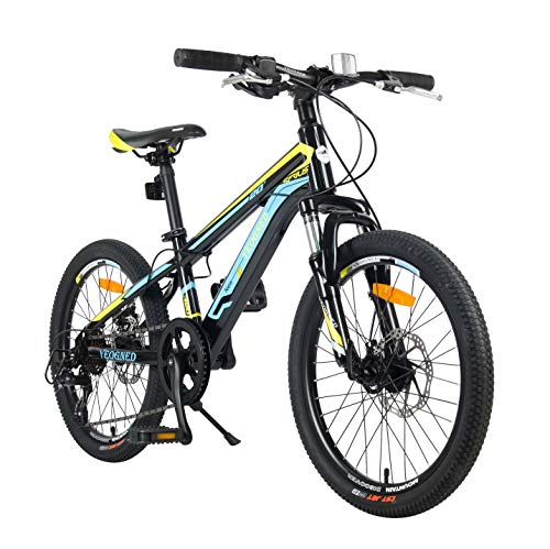 YEOGNED 20' Suspension Variable Speed Steel/Aluminum Mountain Bike Disc Brake Suitable for Boys Girls Aged 8+ 4 Colors (Black-Green/Steel)
