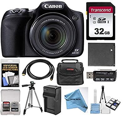 Canon PowerShot SX530 HS Wi-Fi Digital Camera with 32GB Card + Case + Battery & Charger + Tripod + Kit by Canon Intl