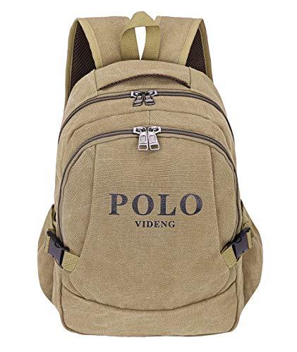 POLOVIDENG Polo videng Canvas Sport-Rucksack 38,1 cm (15 Zoll) Laptop-Tasche Casual Reise Handtasche Schule College Bookbag Braun Gbcs-brown Einheitsgröße