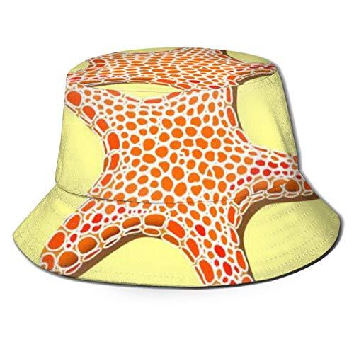 KSDD Caps Estrella de mar con Manchas Naranjas en una Arena Amarilla Sombrero de Pescador Verano Sol Pesca Fisher Beach Festival Cap Gorra de Playa Plegable