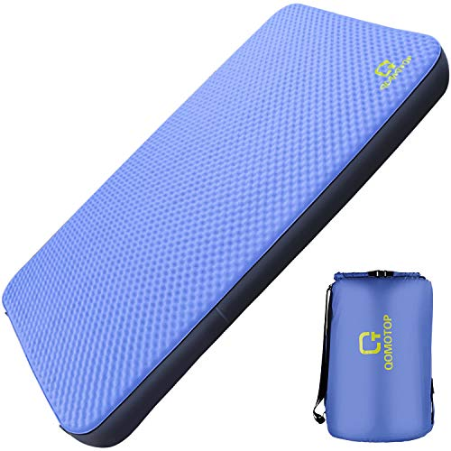 """QOMOTOP Ultra Comfortable Side Sleep Friendly Double Self-Inflating Camping Mattress, 80""""×28"""" Sleeping Pad, 4 Inches Thick PU Foam, Portable Roll-Up Floor Guest Bed, TPU Material"""