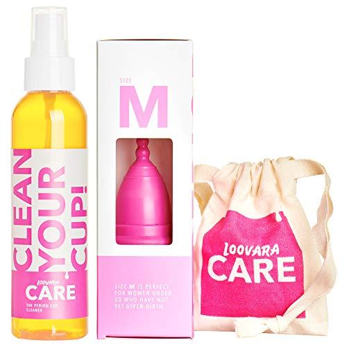 Coupelle menstruelle Loovara sans silicone (100% caoutchouc naturel) avec nettoyant (150 ml) et sac, taille M, emballage économique