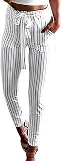 Sunnywill Damen Hosen Damen Gestreifte hohe Taille Pluderhosen Frauen Bowtie elastische Taille Hose