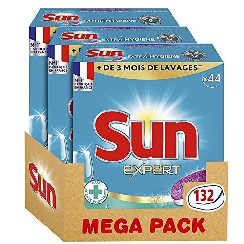 Sun Tablettes Lave-Vaisselle Tout-En-1 Expert Extra Hygiène 132 Lavages (Lot de 3x44 Lavages)