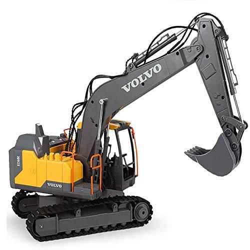 FATSW 1/16 Full Funcional Excavadora de Control Remoto, 15 Canales Batería de Control Remoto de Construcción, 2.4GHz Sync System con Luces y Sonidos