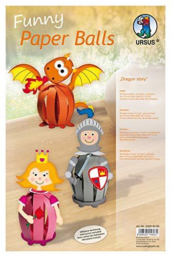 Ursus 23290099 - Funny Paper Balls Dragon story, 30 Streifen und Zubehör für 6 niedliche Dekofiguren