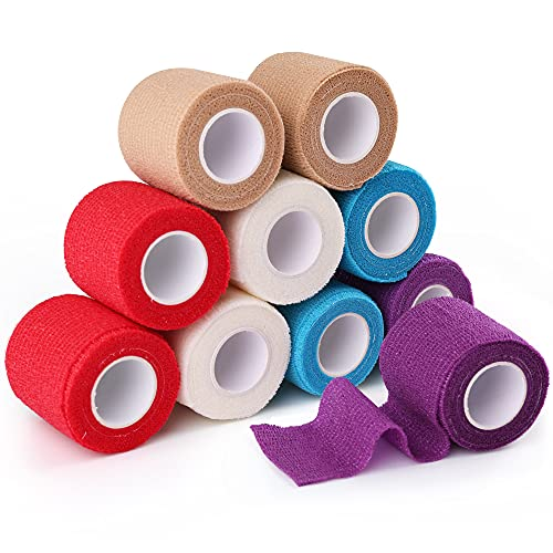 LotFancy 10 Pack Self Adherent Bandage Wrap, 2 x 5 Yards, Self Adherent Wrap, Medical Tape, Self Adhesive Bandage Rolls, Breathable Sports Tape, First Aid Tape for Wrist, Ankle Sprains & Swelling