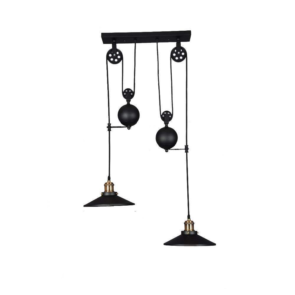 iDEGU 3 Lampes Lustre Industrielle Suspension Luminaire Vintage Plafonnier avec Poulie en M/étal Lampe de Plafond Barre Noir /Ø 26cm