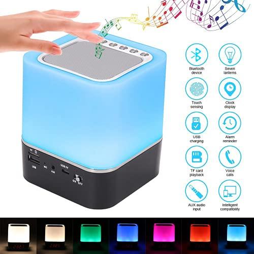 Prenine Bluetooth Lautsprecher mit Licht, LED Nachttischlampe Touch Dimmbar, Wecker Tragbarer Bluetooth Lautspreche, RGB Farbwechsel, MP3 Player für Mädchen Kinder Teenager