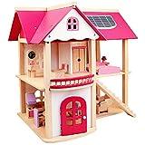 YAMMY Rollenspiele Spielzeug Für Kinder, Holz Simulation Rosa Villa Puppenhaus Set DIY...