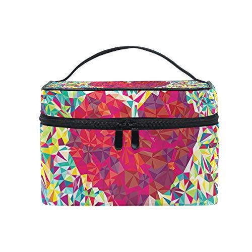 Hengpai Farbige Papier-Kosmetiktasche in Herzform, Reise-Kosmetiktasche, Make-up-Tasche, Aufbewahrungs-Organizer für Frauen