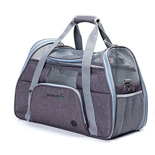 ubest Groß Transporttasche Hundetasche Tragetasche für Haustiere bis 8kg Katzentasche Hundebox, 51 x 22 x 34cm, Dunkelgrau