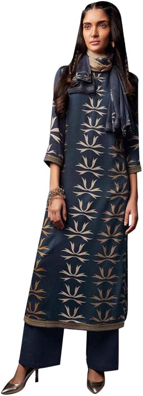 Navybluee Ethnic Printed Cotton Satin Straight Salwar Kameez Suit for Women Indian Designer dress 7744