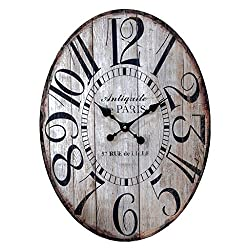 23 Wooden Large Antiquite De Paris Oval Wall Clock