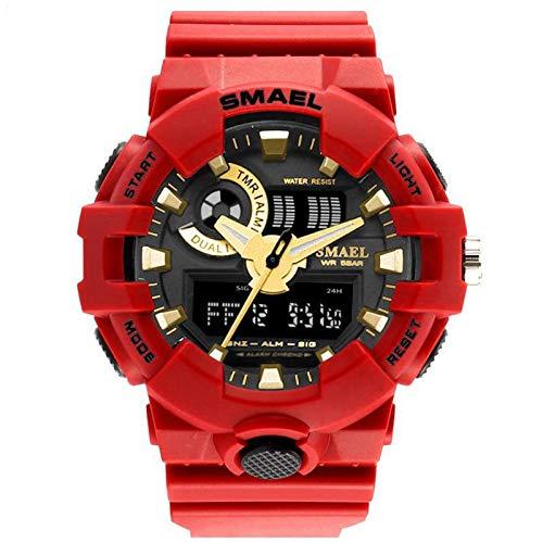 JTTM Relojes Deportivos para Hombre, Hombre Analog Digital Al Agua Resistente Militar Grande De La Cara Deportes Al Aire Libre Relojes Electrónicos,Rojo