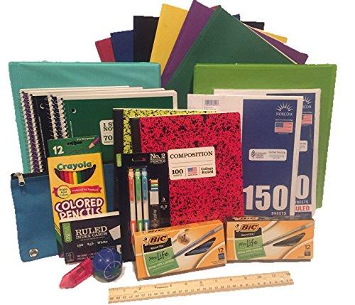 Mochila con elementos para escuela secundaria–25artículos esenciales para la universidad o el colegio. Incluye lápices, papel, fólders, anotadores y más. Paquete de 25piezas