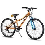 Hiland Climber - Bicicleta de montaña para niños (24 pulgadas, horquilla de suspensión, 6 velocidades, freno en V, color naranja)