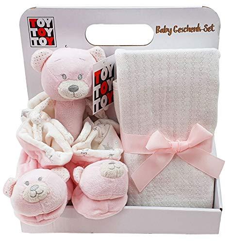 Regalo para bebé con manta para bebé, zapatillas sonajero, oso de peluche, color rosa
