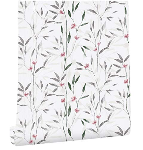 """HaokHome 93011 Peel and Stick Victoria Floral Wallpaper Wall Murals 17.7""""x 9.8ft Beige/Green/Red/Grey Vinyl Self Adhesive Wall Paper Design for Walls Bathroom Bedroom Home Decor"""