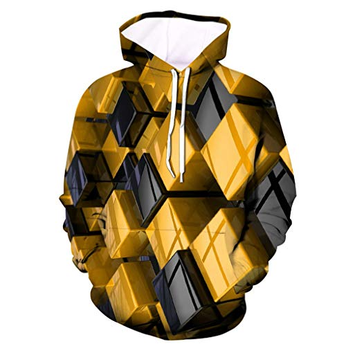 Bolayu Herren 3D Digital Rubik's Cube Hoodie Loose Casual Cool Lightweight Warm Winter Herbst 3D Print Kapuzen-Sweatshirt - - X-Groß
