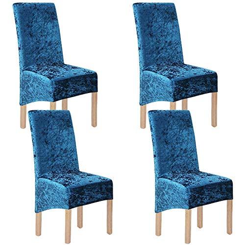 KYJSW Fundas elásticas de terciopelo aplastado M&L para sillas de comedor, 2/4/6 piezas de licra elástica, funda protectora para silla de comedor, decoración de banquetes de boda (azul, 4 piezas (L))