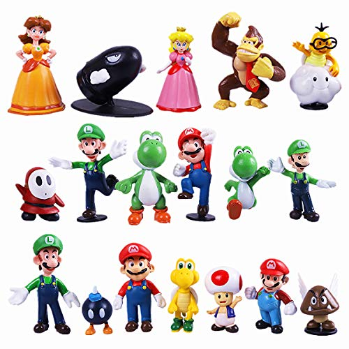 Max Fun 18pcs Mario Brothers Action Figures Kids Toys Cake Toppers Collection Playset