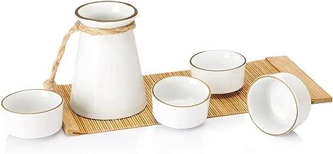 Opps Ceramic Rope Design Sake Set with Bamboo Mat (White)