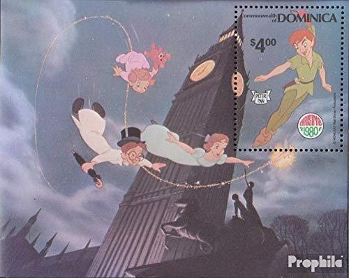 Prophila Collection Dominica Bloque 65 (Completa.edición.) 1980 Peter Pan por Walt Disn. (Sellos para los coleccionistas) historietas