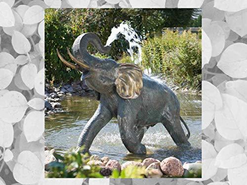 IDYL Rottenecker Bronze-Skulptur Junger Elefant wasserspeiend | 132x66x164 cm | Wasserspeier handgefertigt | Garten-Teich-Dekoration | Hochwertiges Kunsthandwerk | Wetterfest
