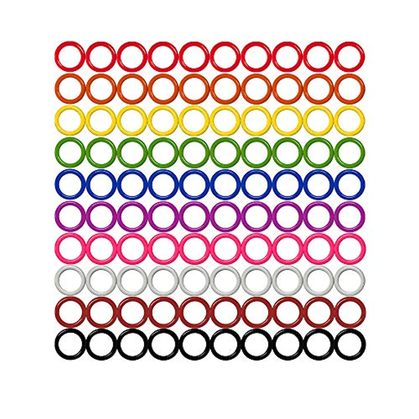 Colorful Iron O-Rings & Stitch Ring Markers for Knitting/Crochet/etc, (Available in 14 Sizes, Includes 10 Colors, for Knitting/Crochet/etc (Small (Internal Diameter 7mm), 100pcs)