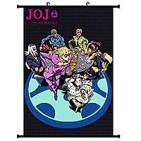 ジョジョの奇妙な冒険アニメポスター生地スクロール漫画コミックスクロール壁掛け絵の装飾 50x75cm