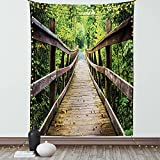 Ambesonne Landscape Tapestry, Rustic Wooden Bridge Limberlost Trail in Shenandoah National Park Virginia, Wall Hanging for Bedroom Living Room Dorm Decor, 60' X 80', Brown and Green