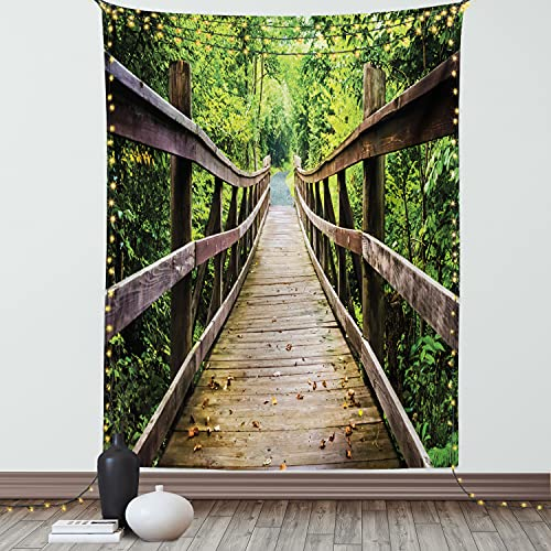 """Ambesonne Landscape Tapestry, Rustic Wooden Bridge Limberlost Trail in Shenandoah National Park Virginia, Wall Hanging for Bedroom Living Room Dorm Decor, 60"""" X 80"""", Brown and Green"""