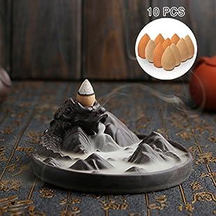 Jeteven Dragon Backflow Incense Burner with Cones Ceramic Dragon Incense Holder ''Dragon Mountain'' 12.2 x 5.2cm:Anders-als-andere