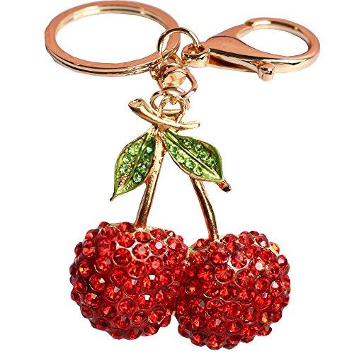 Bolbove Lovely Fruit Cherry with Leaves Keychain Crystal Keyring Rhinestones Purse Pendant Handbag Charm (Red)