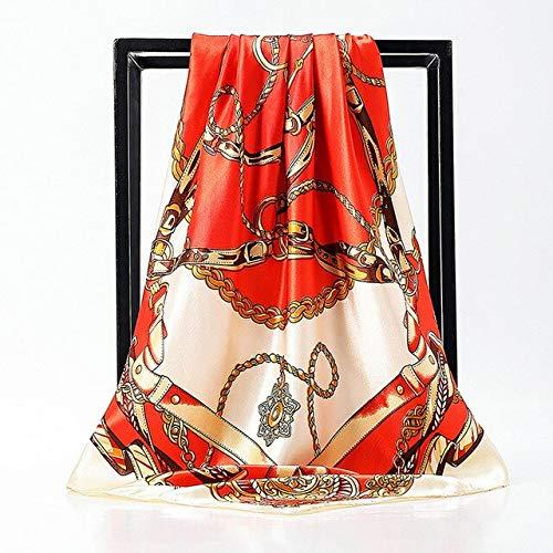 YDMZMS Fashion Vrouwen Zijde Sjaal 90 * 90cm Merk Foulard Satijn Sjalen Grote Maat Haar Vierkante Sjaals Voor Dames Hoofdband