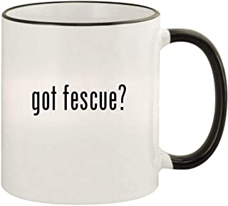 got fescue? - 11oz Colored Rim and Handle Coffee Mug, Black