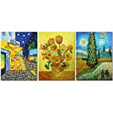 Muzagroo Art Van Gogh Oil Paintings Copy Hand Painted on Canvas Wall Art for Living Room Decor 3 Panels Art Ready to Hang