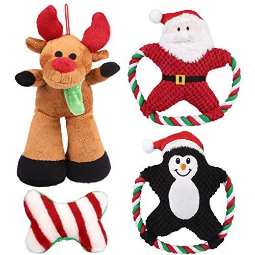 POPETPOP 4pcs Haustier Quietschen Kauspielzeug Hund Weihnachten Spielzeug Stellte Interaktive Kauen Spielzeug für Welpen Kleine/Mittlere Hunde