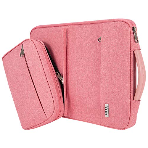 Voova 13 13.3Inch Laptop Sleeve Case for women Compatible MacBook Pro/MacBook Air 2020 M1, 13.5' Surface Book 2/3, 13'Chromebook, Computer Bag Cover with Detachable Small Pouch&Handle, Pink