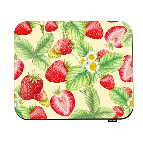 Swono Strawberry Mouse Pads Botanical Plant Sweet Strawberries Leaves Flower Mouse Pad for Laptop Funny Non-Slip Gaming Mouse Pad for Office Home Travel Mouse Mat 7.9'X9.5'