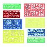 FOGAWA 8pz Stencil Lettere Riutilizzabili Righello Plastica di Numero Alfabeto e Simboli Grandi Stencil per Scrapbooking Disegno Pittura Fai da Te Bambini 4 Colori Taglie