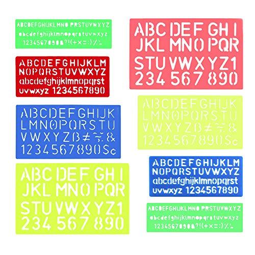 FOGAWA 8 Stück Schriftzug Schablone Alphabet Schablone Buchstaben Nummer Linealhilfslinien Set Schriftschablone für Kinder Malerei Scrapbooking