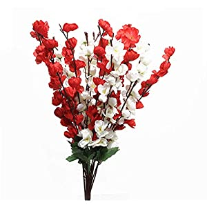 Artificial Flower Cherry Blossom Bouquet Branches Flowers Silk Flowers vase Arrangements Faux Tree Stems Fake Plants for Home Wedding Christmas Indoor Outdoor Decoration 22 Inch White and Red