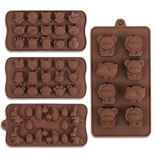 Cozihom Silikonform für Schokolade, Süßigkeiten, Gelee, Eiswürfel, Hunde-Leckerlis, verschiedene Tiere, lebensmittelecht 4 Stück