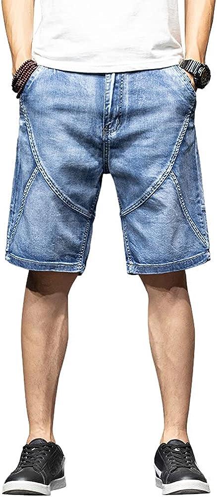 chouyatou Men's Summer Topstitching Design Distressed Wash Denim Bermuda Shorts