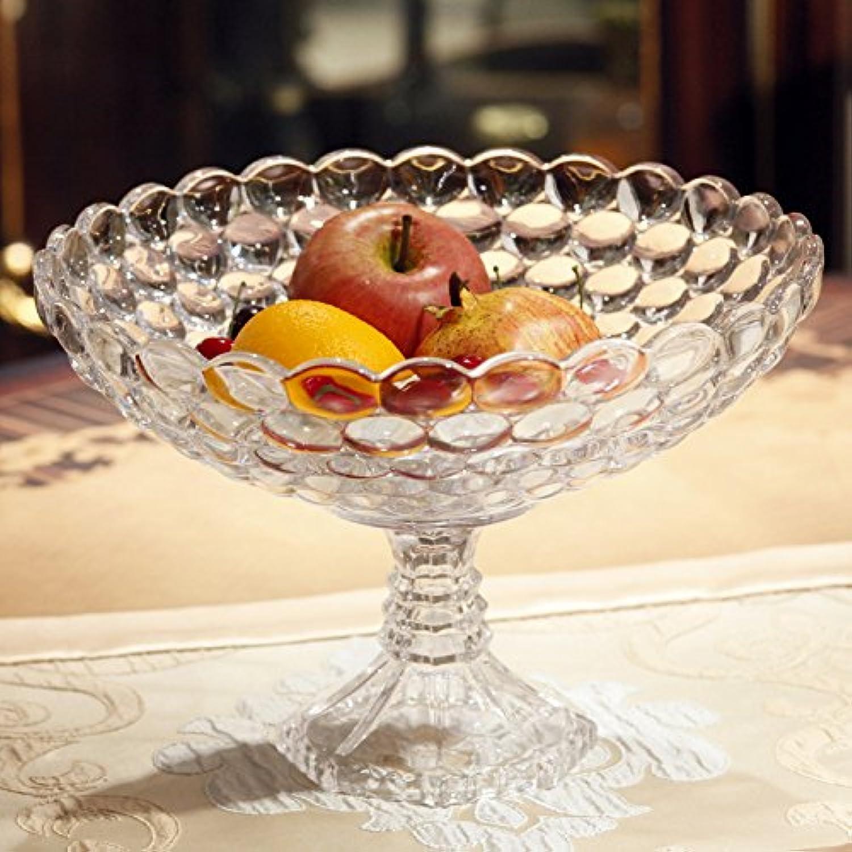 MLGG Plate-Forme de Fruits en Cristal sans Plomb Salle de séjour Moderne Pots à Fruits Assiette à Haute teneur en Fruits,Couleur Transparente
